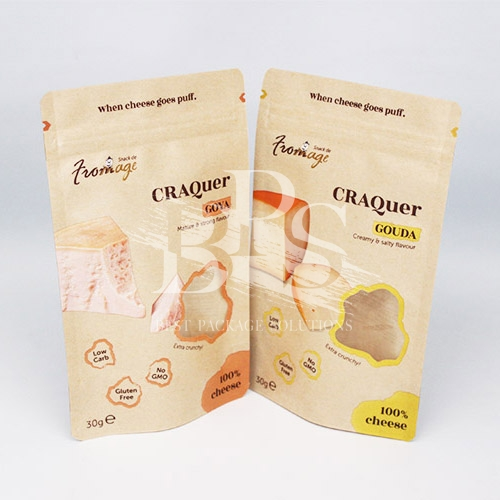 Resealable Kraft Ziplock Stand Up Bag , Paper Pouch with Irregular Shape Clear Window For Snacks Packaging