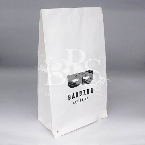 High Performance Compostable Coffee Flat Bottom Bag with PLA Zipper & Valve